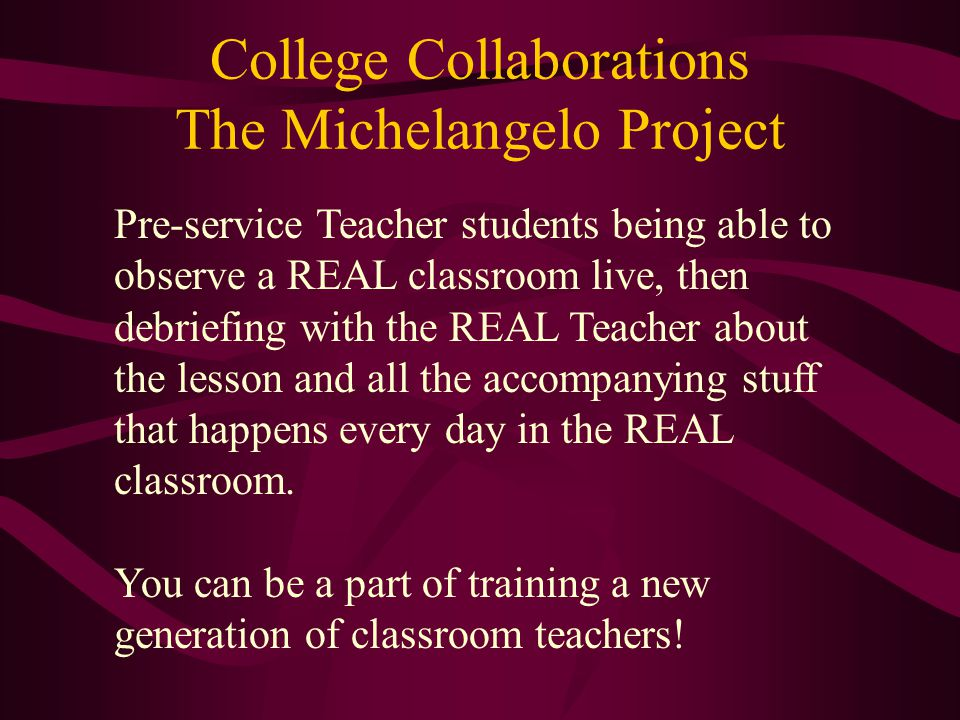 College Collaborations The Michelangelo Project Pre-service Teacher students being able to observe a REAL classroom live, then debriefing with the REA