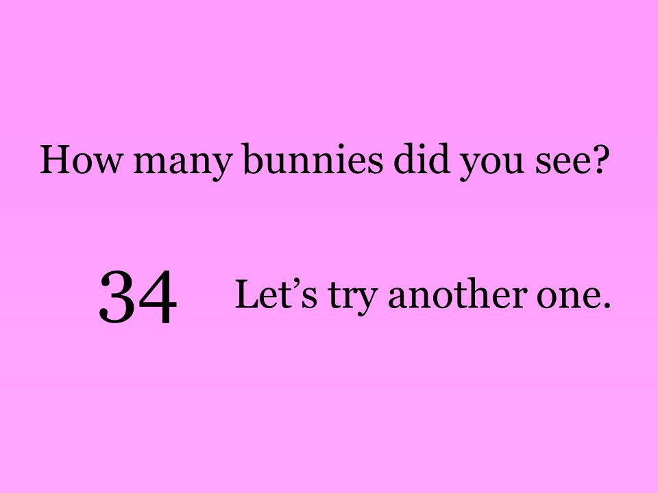 How many bunnies did you see 34 Let's try another one.