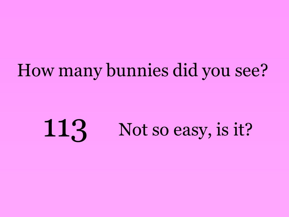 How many bunnies did you see 113 Not so easy, is it
