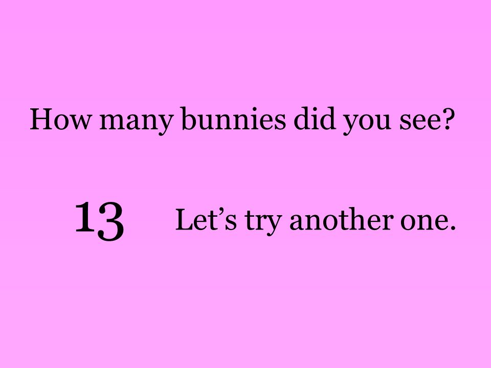 How many bunnies did you see 13 Let's try another one.