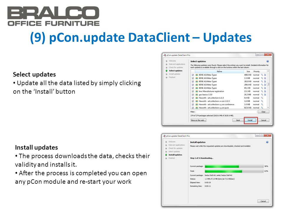 (9) pCon.update DataClient – Updates Select updates Update all the data listed by simply clicking on the 'Install' button Install updates The process