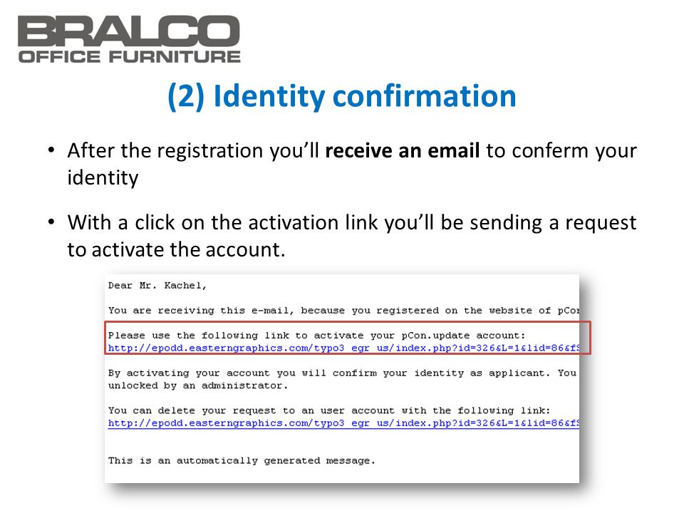 (2) Identity confirmation After the registration you'll receive an email to conferm your identity With a click on the activation link you'll be sendin