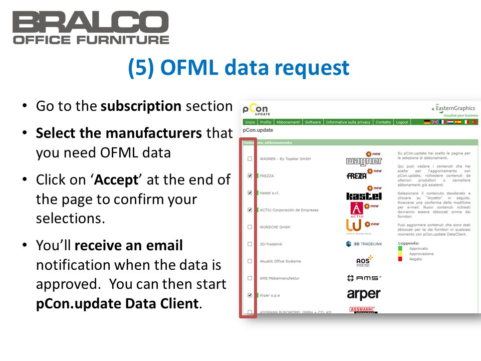 (5) OFML data request Go to the subscription section Select the manufacturers that you need OFML data Click on 'Accept' at the end of the page to conf