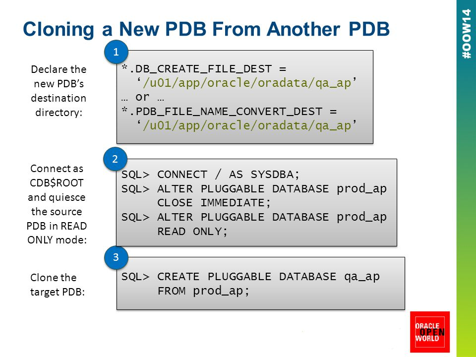 Cloning a New PDB From Another PDB Declare the new PDB's destination directory: *.DB_CREATE_FILE_DEST = '/u01/app/oracle/oradata/qa_ap' … or … *.PDB_FILE_NAME_CONVERT_DEST = '/u01/app/oracle/oradata/qa_ap' *.DB_CREATE_FILE_DEST = '/u01/app/oracle/oradata/qa_ap' … or … *.PDB_FILE_NAME_CONVERT_DEST = '/u01/app/oracle/oradata/qa_ap' 1 1 Clone the target PDB: SQL> CREATE PLUGGABLE DATABASE qa_ap FROM prod_ap; SQL> CREATE PLUGGABLE DATABASE qa_ap FROM prod_ap; 3 3 SQL> CONNECT / AS SYSDBA; SQL> ALTER PLUGGABLE DATABASE prod_ap CLOSE IMMEDIATE; SQL> ALTER PLUGGABLE DATABASE prod_ap READ ONLY; SQL> CONNECT / AS SYSDBA; SQL> ALTER PLUGGABLE DATABASE prod_ap CLOSE IMMEDIATE; SQL> ALTER PLUGGABLE DATABASE prod_ap READ ONLY; Connect as CDB$ROOT and quiesce the source PDB in READ ONLY mode: 2 2