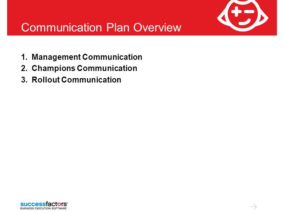 1.Management Communication 2.Champions Communication 3.Rollout Communication