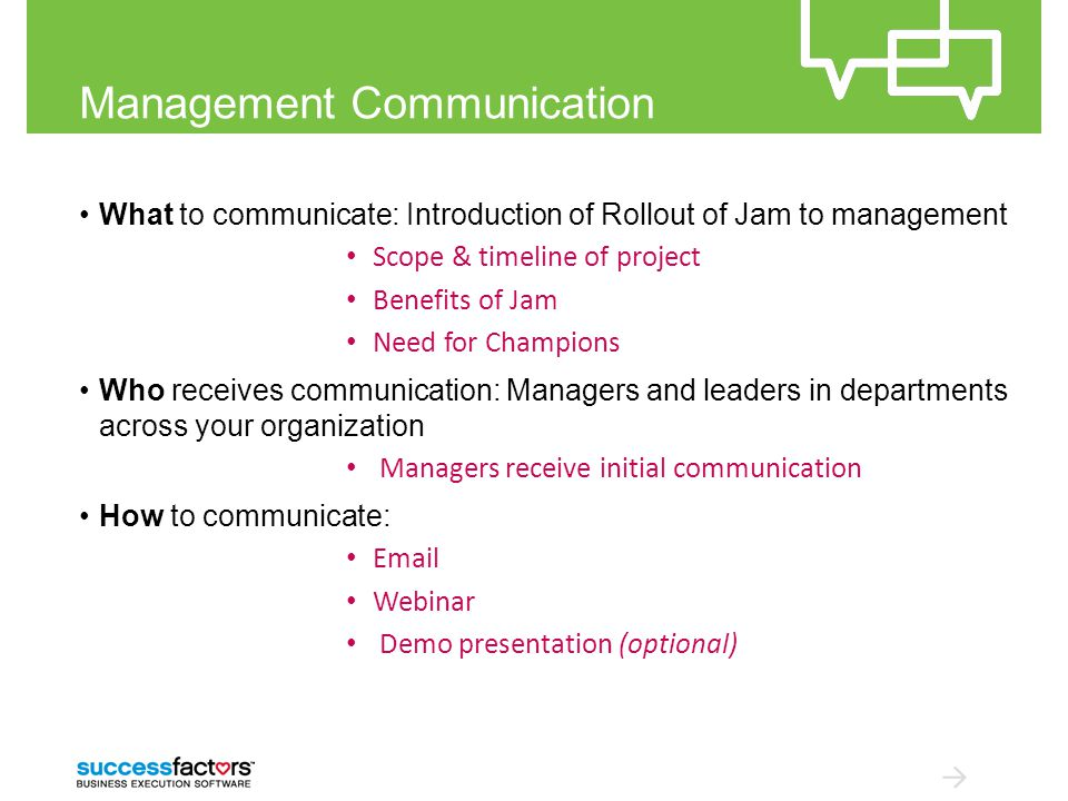Management Communication What to communicate: Introduction of Rollout of Jam to management Scope & timeline of project Benefits of Jam Need for Champions Who receives communication: Managers and leaders in departments across your organization Managers receive initial communication How to communicate: Email Webinar Demo presentation (optional)