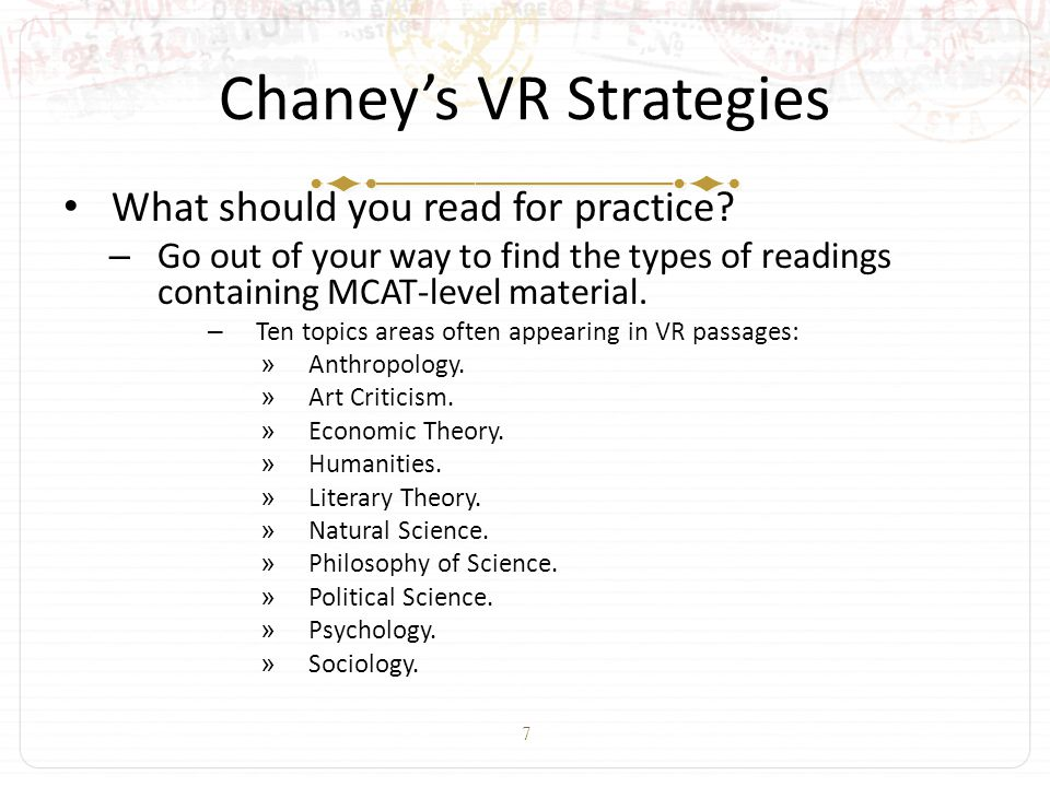 8 Chaney's VR Strategies What should you read for practice.