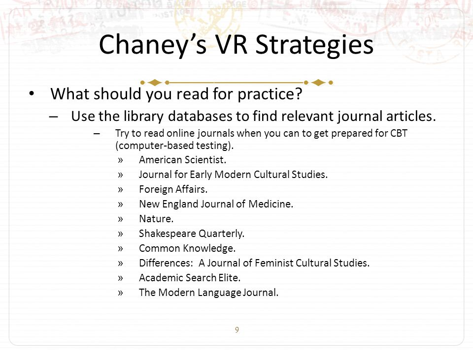 9 Chaney's VR Strategies What should you read for practice.