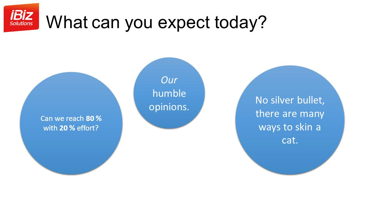 What can you expect today.Can we reach 80 % with 20 % effort.