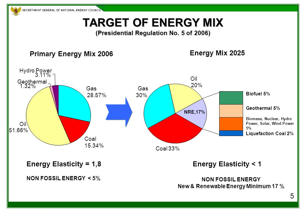 SECRETARIAT GENERAL OF NATIONAL ENERGY COUNCIL TARGET OF ENERGY MIX (Presidential Regulation No.