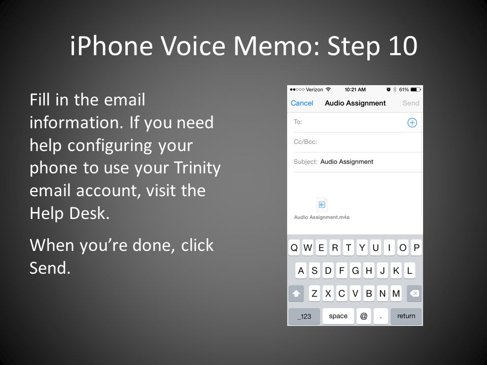 iPhone Voice Memo: Step 10 Fill in the email information.
