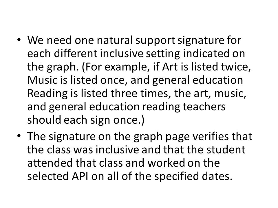We need one natural support signature for each different inclusive setting indicated on the graph.