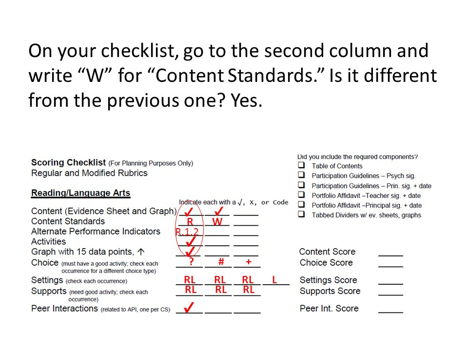 On your checklist, go to the second column and write W for Content Standards. Is it different from the previous one.