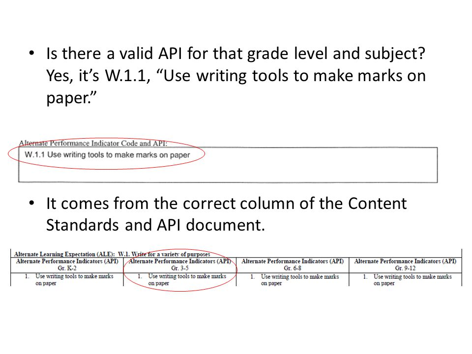 Is there a valid API for that grade level and subject.