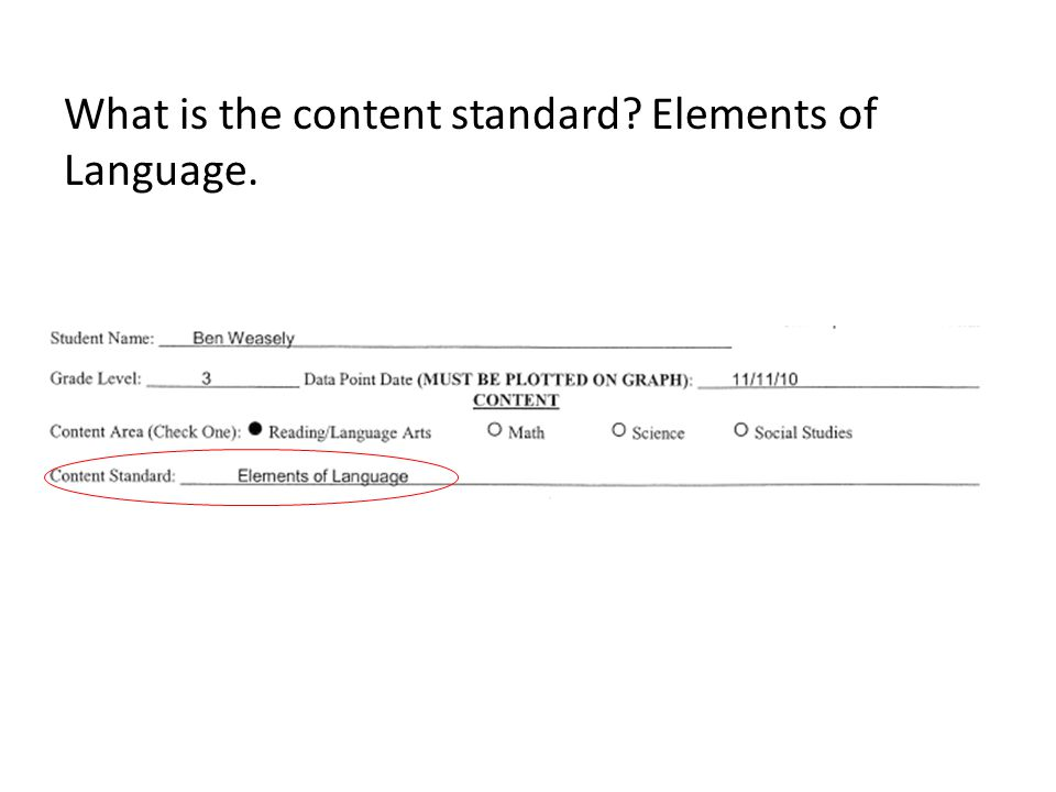 What is the content standard Elements of Language.