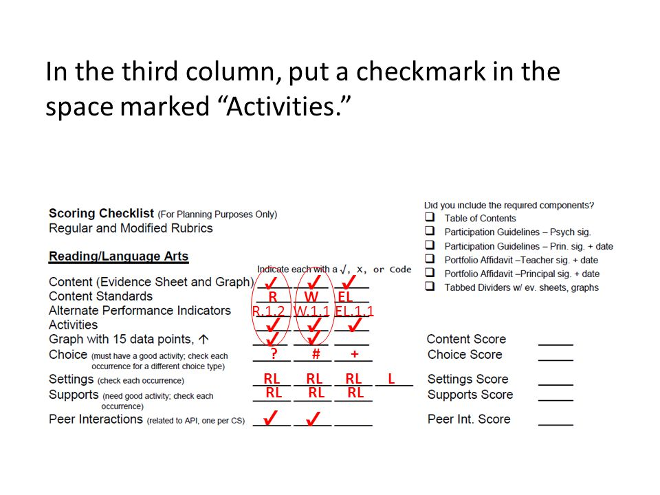 In the third column, put a checkmark in the space marked Activities. R W EL R.1.2 W.1.1 EL.1.1 .