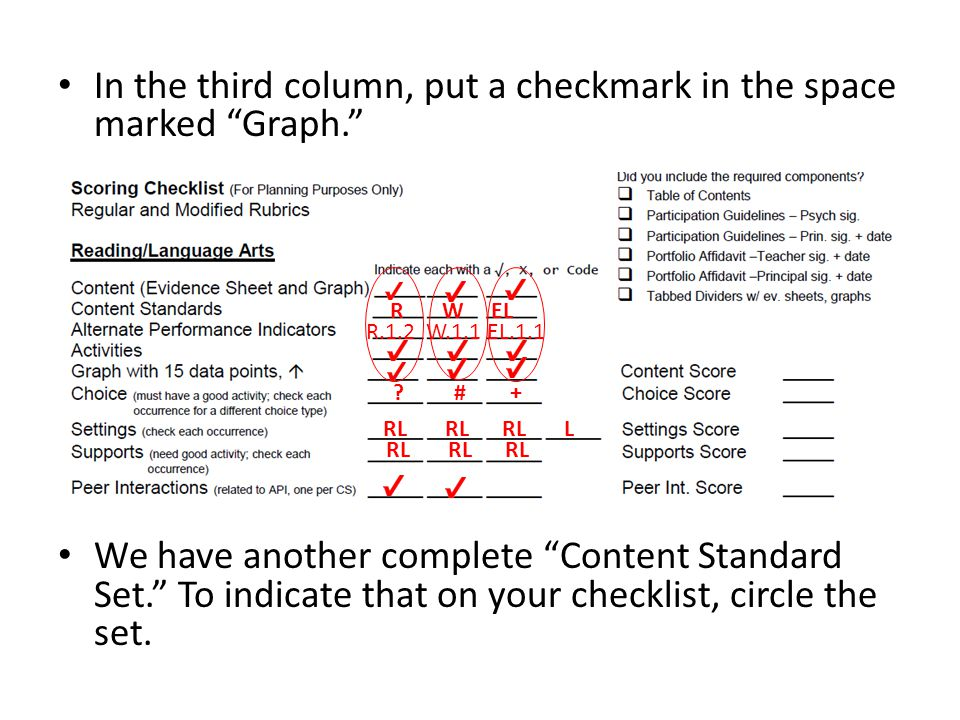 In the third column, put a checkmark in the space marked Graph. We have another complete Content Standard Set. To indicate that on your checklist, circle the set.