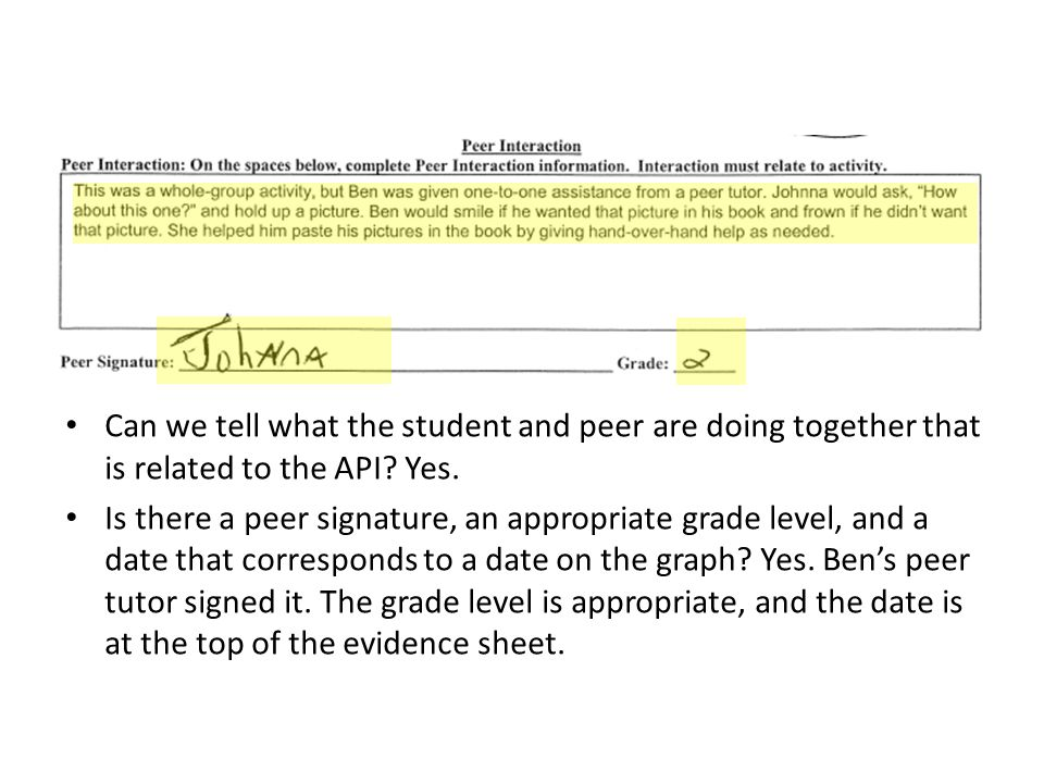 Can we tell what the student and peer are doing together that is related to the API.