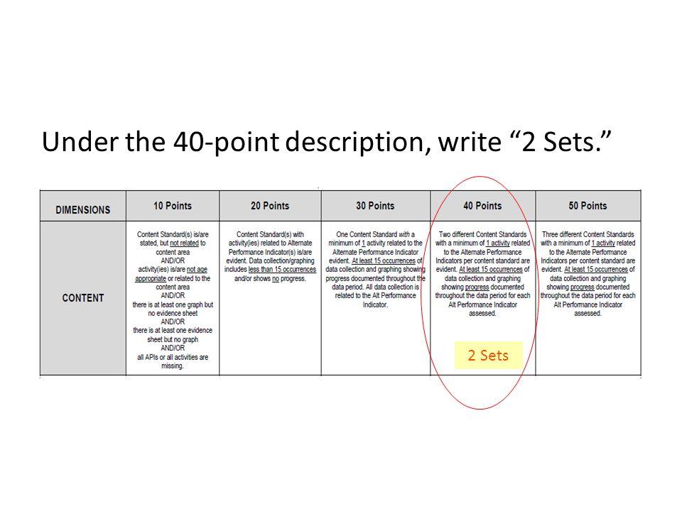 Under the 40-point description, write 2 Sets. 2 Sets