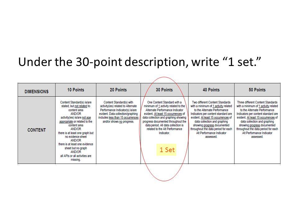 Under the 30-point description, write 1 set. 1 Set