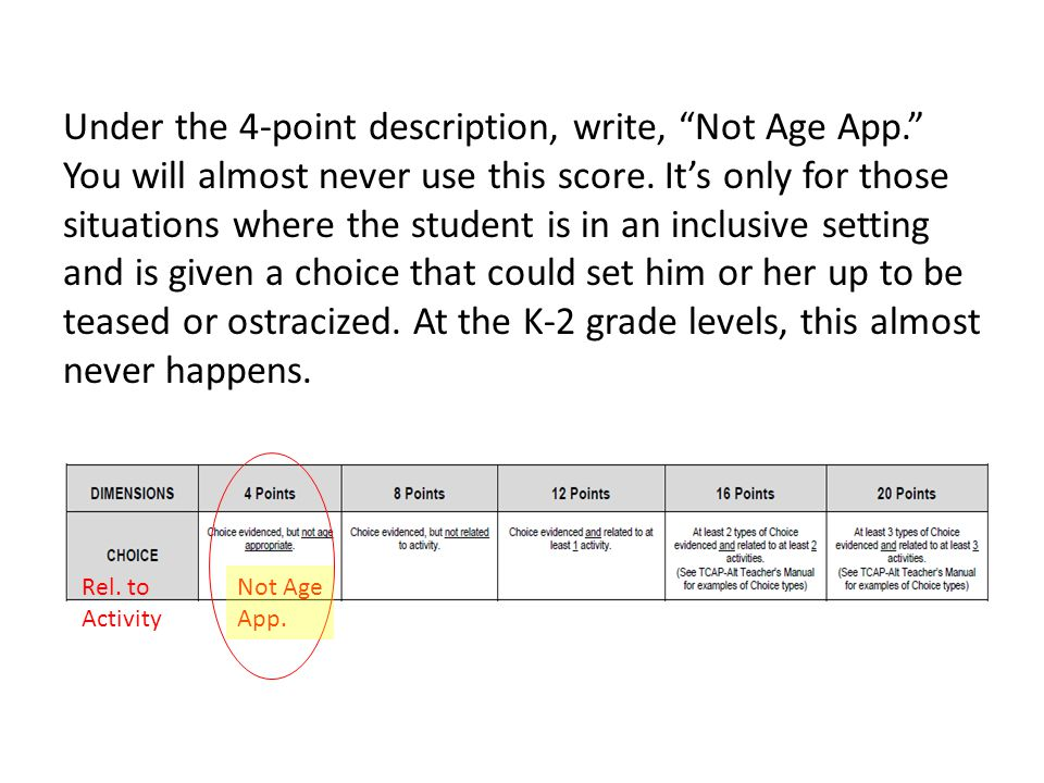 Under the 4-point description, write, Not Age App. You will almost never use this score.