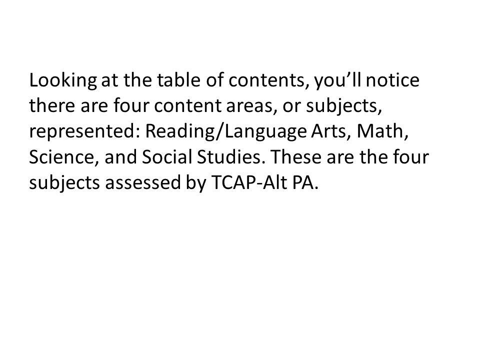 Rubric Next, let's look at the Regular TCAP-Alt PA Scoring Rubric.