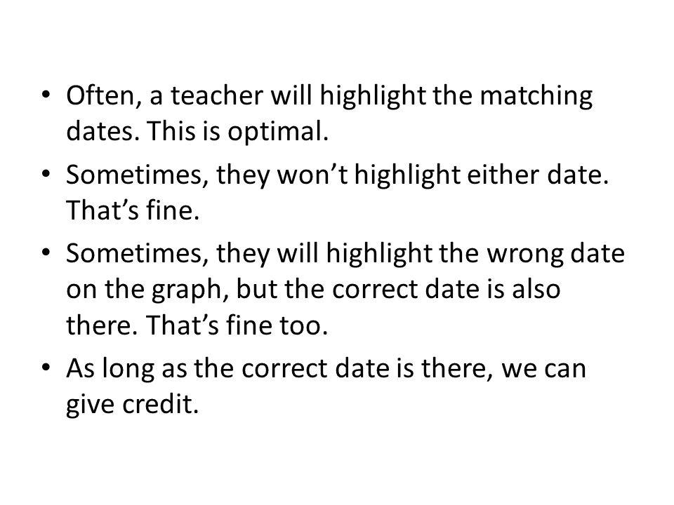Often, a teacher will highlight the matching dates.
