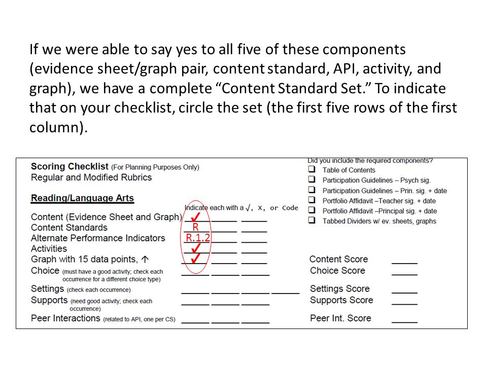 If we were able to say yes to all five of these components (evidence sheet/graph pair, content standard, API, activity, and graph), we have a complete Content Standard Set. To indicate that on your checklist, circle the set (the first five rows of the first column).