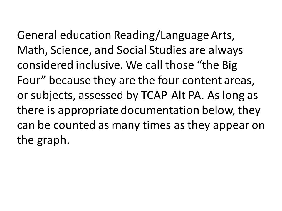 General education Reading/Language Arts, Math, Science, and Social Studies are always considered inclusive.