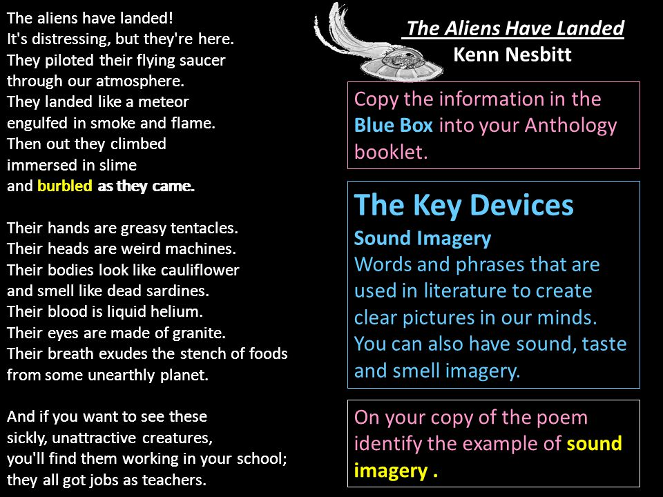 The Aliens Have Landed Kenn Nesbitt The aliens have landed.