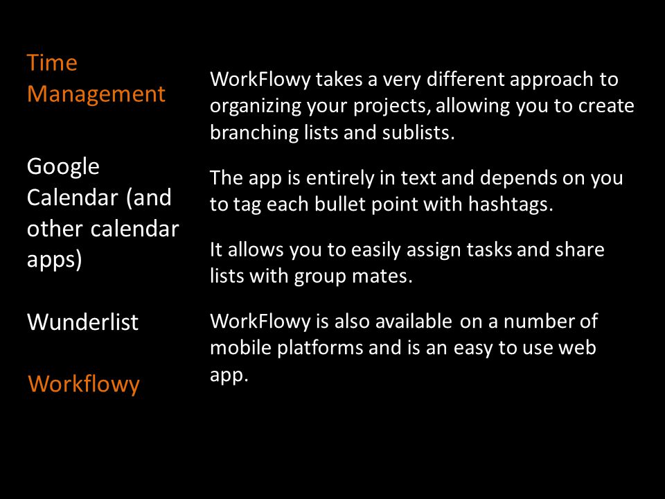 Google Calendar (and other calendar apps) Wunderlist Workflowy WorkFlowy takes a very different approach to organizing your projects, allowing you to