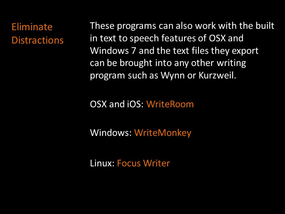 These programs can also work with the built in text to speech features of OSX and Windows 7 and the text files they export can be brought into any oth