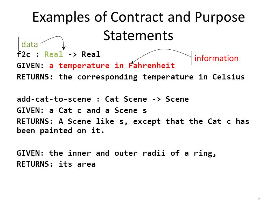 Examples of Contract and Purpose Statements f2c : Real -> Real GIVEN: a temperature in Fahrenheit RETURNS: the corresponding temperature in Celsius add-cat-to-scene : Cat Scene -> Scene GIVEN: a Cat c and a Scene s RETURNS: A Scene like s, except that the Cat c has been painted on it.