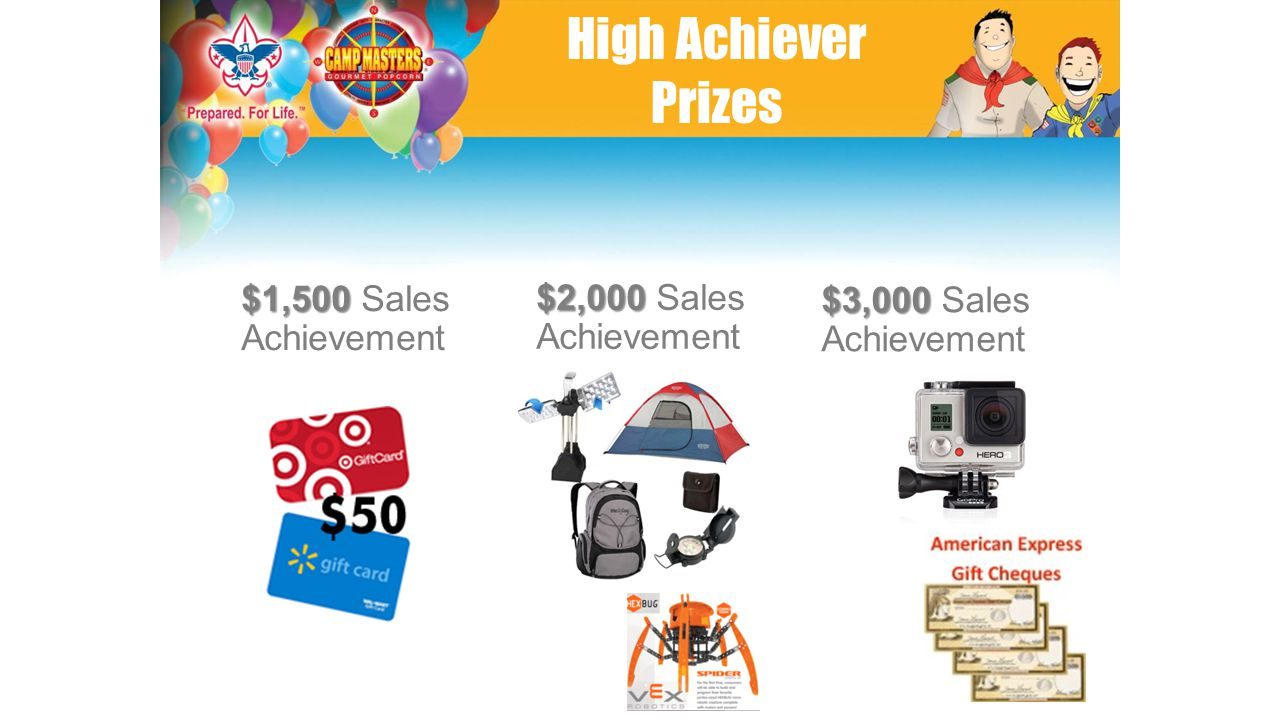 $1,500 $1,500 Sales Achievement $2,000 $2,000 Sales Achievement $3,000 $3,000 Sales Achievement High Achiever Prizes