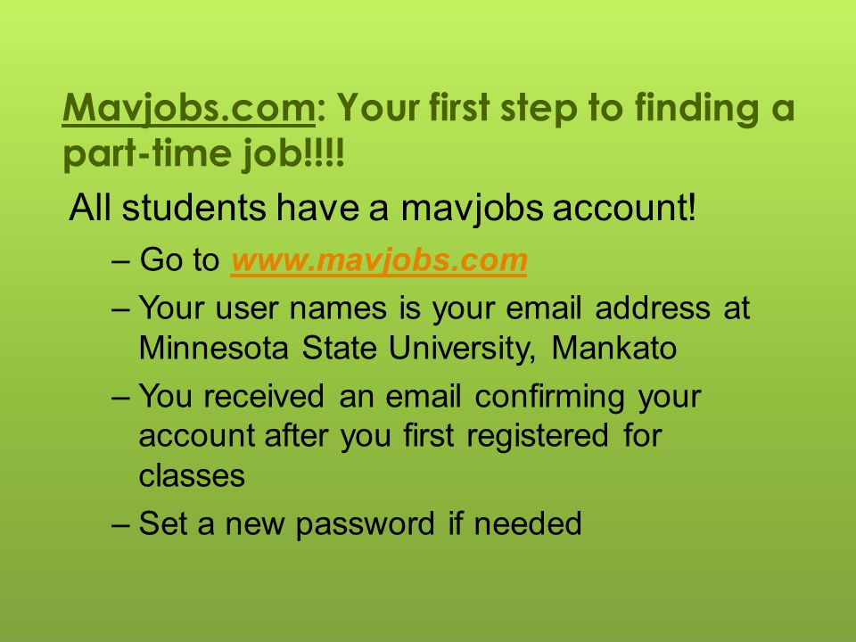 Mavjobs.com: Your first step to finding a part-time job!!!.