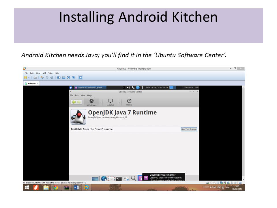 Android Kitchen needs Java; you'll find it in the 'Ubuntu Software Center'.