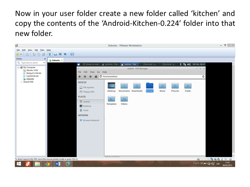 Now in your user folder create a new folder called 'kitchen' and copy the contents of the 'Android-Kitchen-0.224′ folder into that new folder.