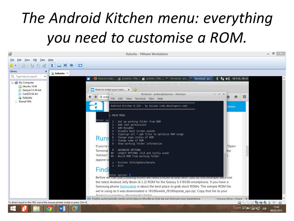 The Android Kitchen menu: everything you need to customise a ROM.
