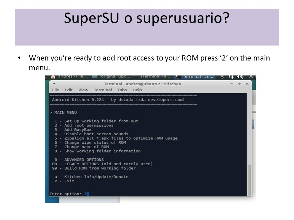 SuperSU o superusuario? When you're ready to add root access to your ROM press '2' on the main menu.
