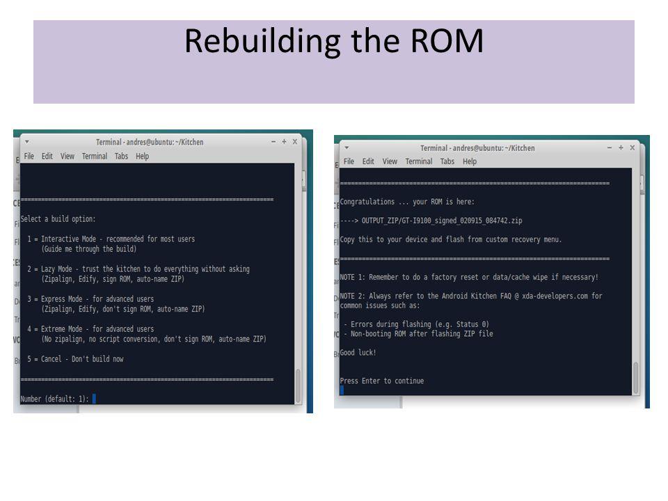 Rebuilding the ROM