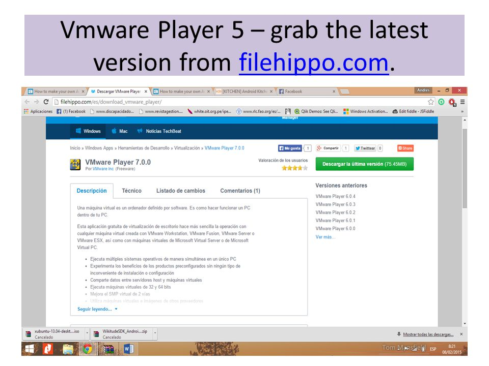 Vmware Player 5 – grab the latest version from filehippo.com.filehippo.com