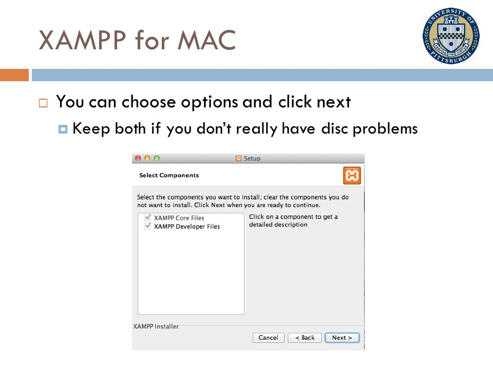 XAMPP for MAC  You can choose options and click next  Keep both if you don't really have disc problems
