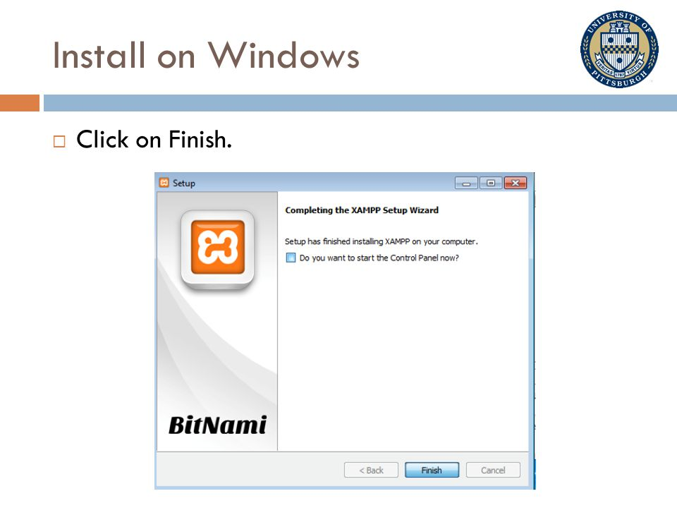 Install on Windows  Click on Finish.