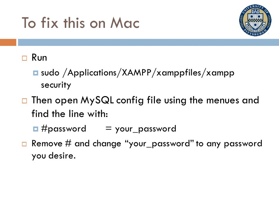 To fix this on Mac  Run  sudo /Applications/XAMPP/xamppfiles/xampp security  Then open MySQL config file using the menues and find the line with:  #password= your_password  Remove # and change your_password to any password you desire.