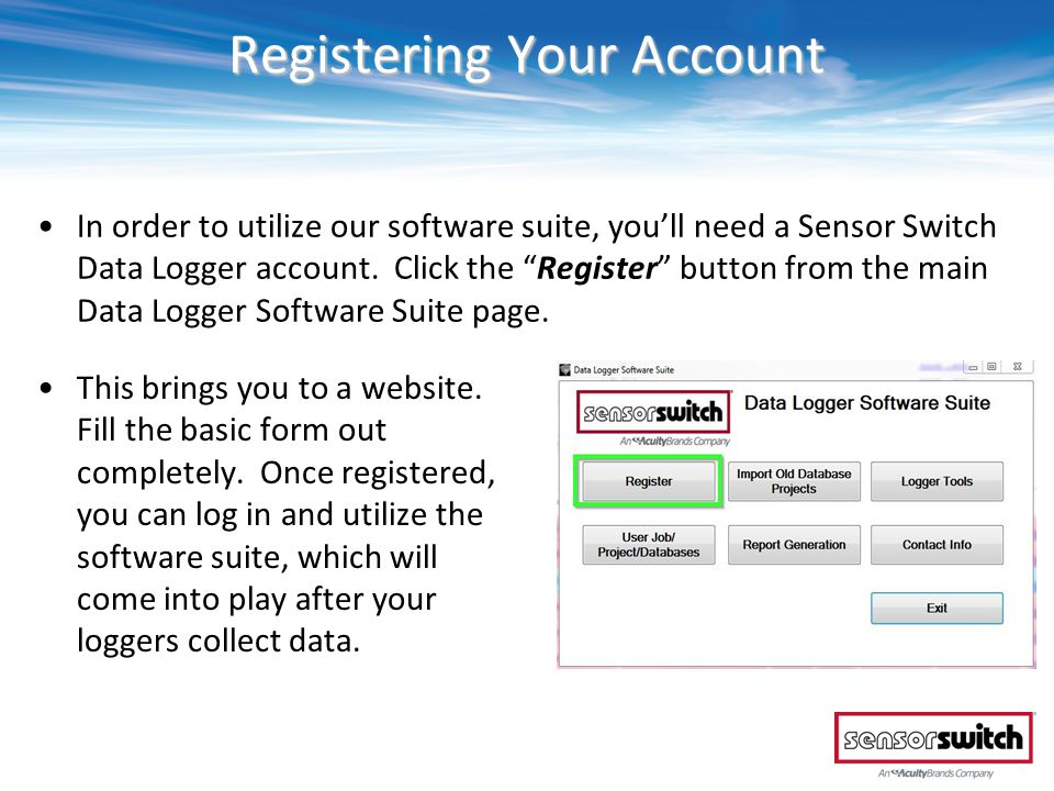 Managing Your Data Fill in the logger serial number, the room location\name, and select the area type from the pull-down menu provided.