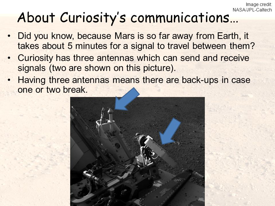 About Curiosity's communications… Did you know, because Mars is so far away from Earth, it takes about 5 minutes for a signal to travel between them.