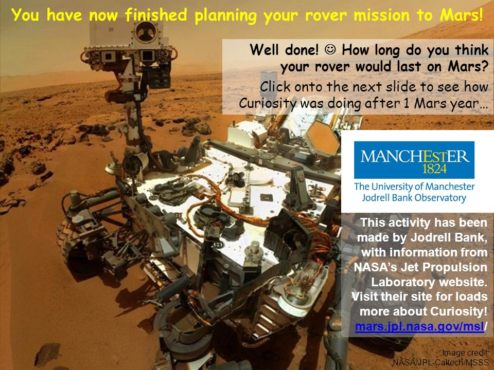 Image credit: NASA/JPL-Caltech/MSSS You have now finished planning your rover mission to Mars.
