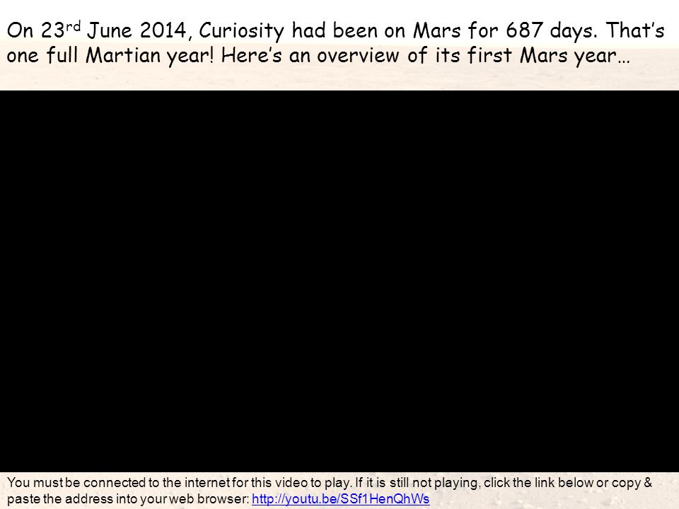 On 23 rd June 2014, Curiosity had been on Mars for 687 days. That's one full Martian year! Here's an overview of its first Mars year… You must be conn