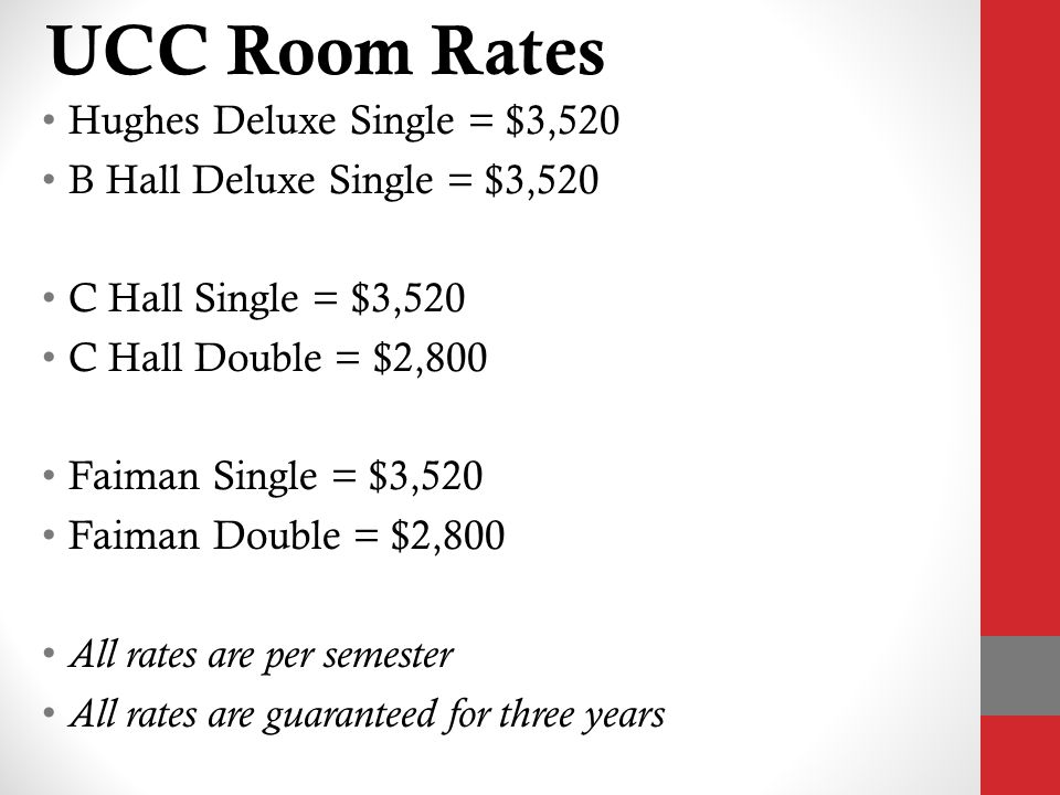 UCC Room Rates Hughes Deluxe Single = $3,520 B Hall Deluxe Single = $3,520 C Hall Single = $3,520 C Hall Double = $2,800 Faiman Single = $3,520 Faiman Double = $2,800 All rates are per semester All rates are guaranteed for three years