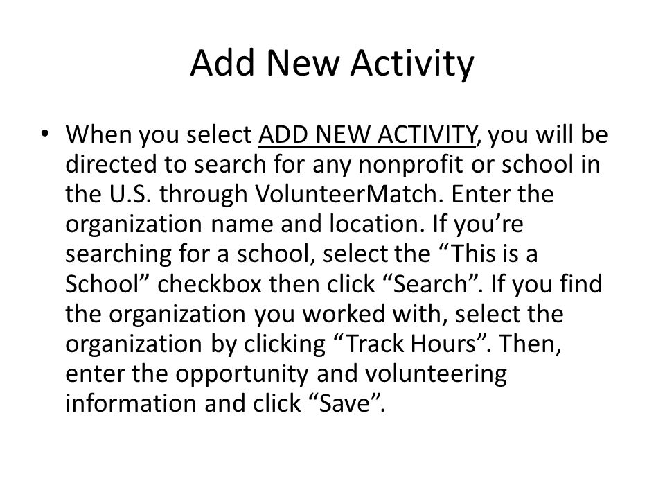 Add New Activity Cont.